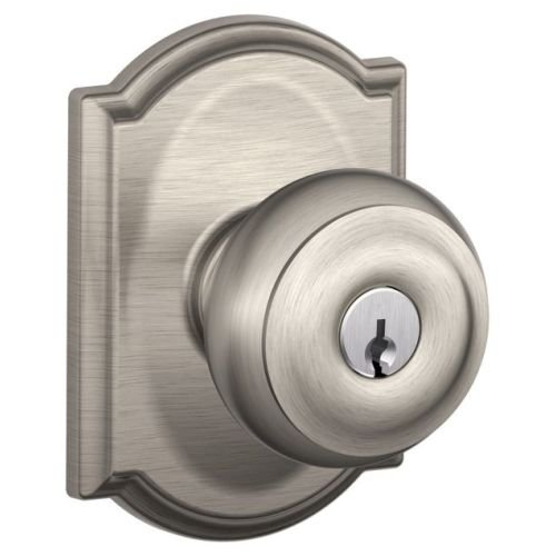 Schlage Hardware Panic (Schlage F51-GEO-CAM Georgian Keyed Entry F51A Panic Proof Door Knob with Camelot, Satin Nickel)