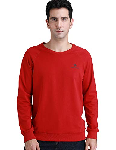 Camel Crown Men Sweatshirts Breathable Sport Long Slevees T-Shirts Elastic for Running Dark Red M Size