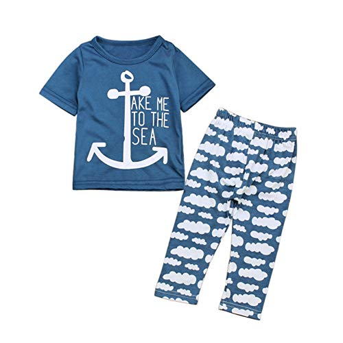 Pajamas Set - Anchor Print Tee Shirt and Clouds Print Pants - for Baby Infant Boy Blue