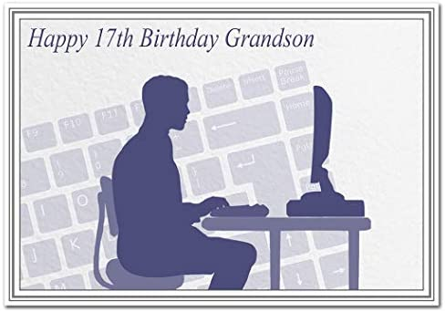 Special 17th Birthday Cards For Him Unusual Unique Cool Best 17 Year Old Boy Grandson 17th Bday Card Computer Theme Amazon Co Uk Office Products