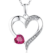 Heart Necklace-YL Women's Sterling Silver Blue/Pink/Red CZ Created Sapphire Love Heart Shaped Pendant with White Gold Plated
