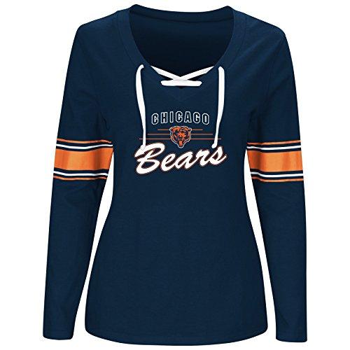 Nfl Womens Jerseys Shop (NFL Chicago Bears Women L/S JERSEY  V NECK TEE, NAVY/WHITE, 1X)