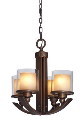 (Artcraft Lighting AC1244 Sierra Transitional 4-Light Chandelier In Distressed Rust With Double Glass Shade by Artcraft Lighting)