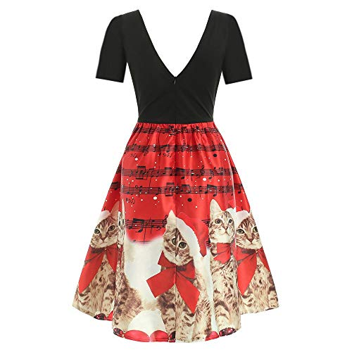 Landfox Cocktail Dress, Women's Novelty Cut Out V-Neck Vintage Casual Party Cocktail Swing Dress Red ()