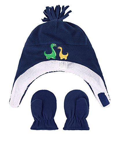 Embroidered Fleece Gloves (Boys Sherpa Lined Dino Embroidered Fleece Hat & Gloves Set, M 2-4 Years)