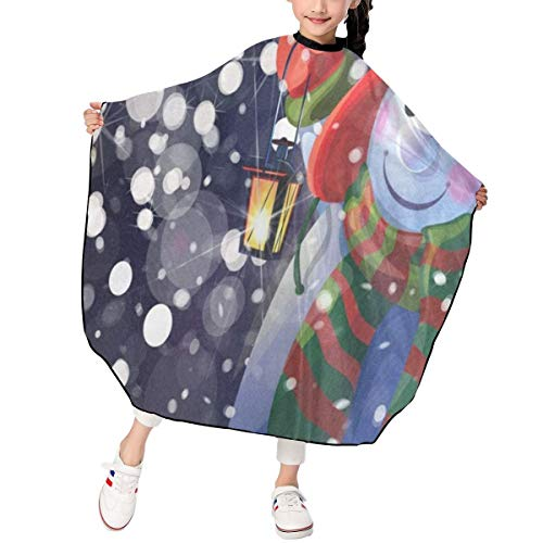 Snowman Holding Christmas Hair Cutting Gown Cape Hairdresser Professional Home Salon Capes Water Resistant Styling Cover Cloth for Kids/Child/Boys/Girls