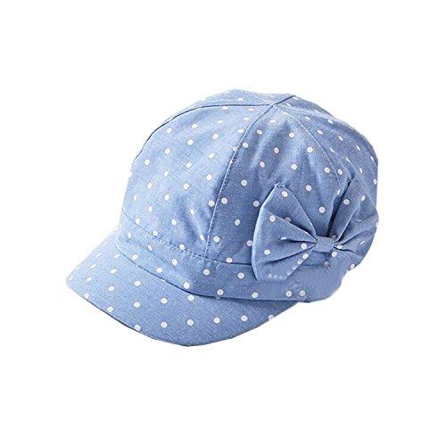 UQ Baby Girls Cute Polka Dot Bowknot Denim Cotton Cap Sun Hat(1T-4T)]()
