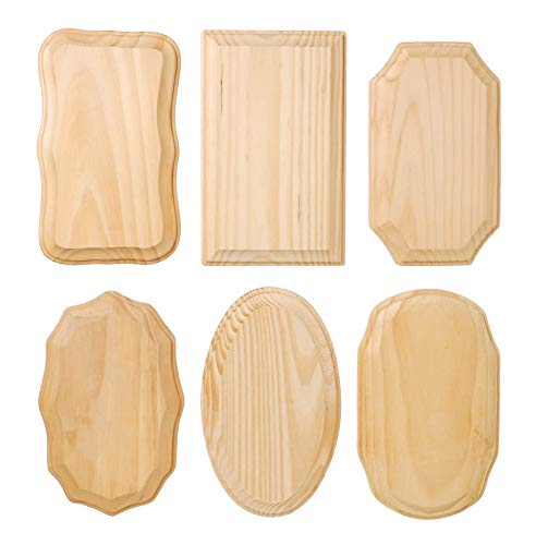 DARICE 9176-25 Wood Plaques - 6 Pc. Assortment - 3.5 x 5.5 inches, Natural