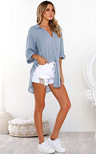 Camicia Solido ShallGood Blu V Manica Donna Super Scollo OL Bavero Casuale Elegante Lunga Soft Fit Loose Bluse Camicia Lunga Top Button A Camicetta qEAETB