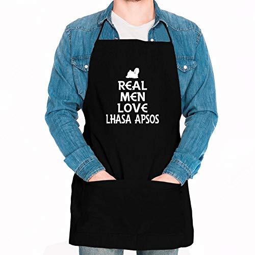 - Idakoos Real men love Lhasa Apsos Silhouette Apron 24