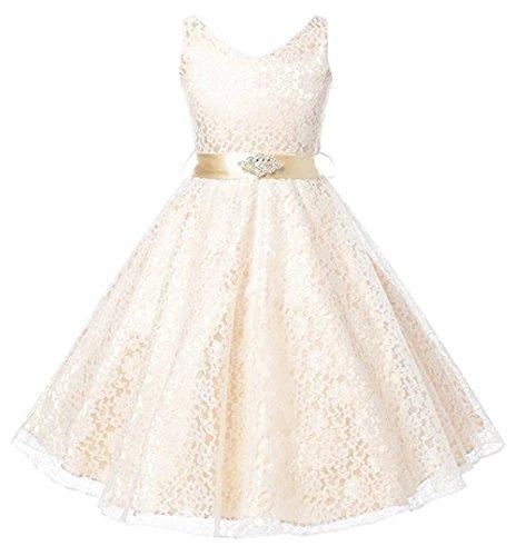 ZAH Lovely Lace V-Neck Flower Girl Dress(Champagne,5-6Y)
