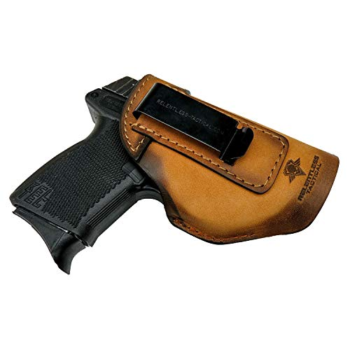 Relentless Tactical The Defender Leather IWB Holster - Made in USA - Fits Glock 42 | Ruger LC9, LC9s | Kahr CM9, MK9, P9 | Kel-Tec PF9, PF11 | Kimber Solo Carry - Charred Oak Right Handed