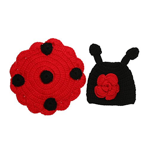 [Diamondo Newborn Baby Infant Cute Wool Knit Ladybug Costume Hat Shell Photo Prop (3-4M)] (Ladybug Soft Costumes)