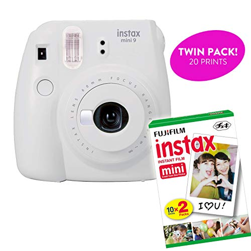 Fujifilm Instax Mini 9 Instant Print Camera(Certified Refurbished) Plus Twin Pack Film Starter Bundle | 10 Sheets x 2 = 20 White Frame Instant Exposure Photograph Sheets (Smokey White)