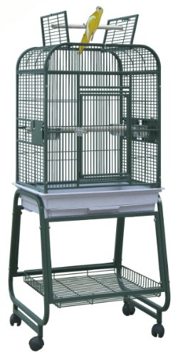 BirdsComfort HQ Flat Open Cockatiel Bird Cage with Cart Stan