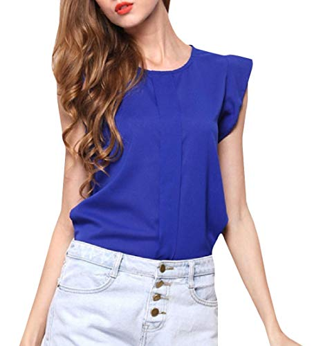 Wofupowga Women Round Neck Tops Solid Color Vogue Cap Sleeve T-Shirts Sapphire Blue -