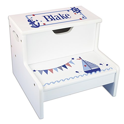 Personalized Sailboat Storage Step Stool by MyBambino