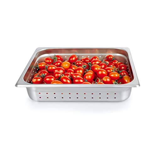 """Half Size Perforated 2.5'' Deep Steam Table Pan, Kitma 4 Quart Stainless Steel Anti-Jam Standard Weight Hotel GN Food Pans - NSF (12.8""""L x 10.43""""W) - 12 Pack from Kitma"""