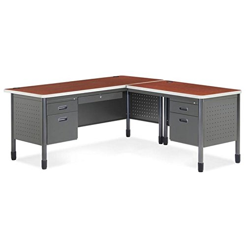 OFM Mesa Series L-Shaped Steel Office Desk with Laminate Top, Right Pedestal Return and Maple Top - Durable Corner Utility Desk (66366R-MPL)