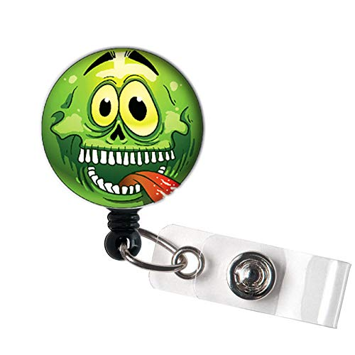 LOVEKITTY - Halloween Emoji Funny Funky Face Retractable ID Badge Reel Swivel Clip/Name Badges/ID Badge Holder/Doctor Nursing Badge/Coworker Teacher Nurse Great Gift Idea ()