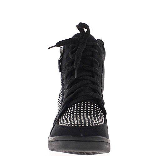 Baskets compensées montantes noires avec strass à talon de 6cm