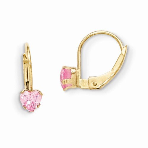 Solid 14k Yellow Gold Children Girl Baby Kids Toddler Leverback 4mm Pink CZ Cubic Zirconia Earrings (12mm x 5mm) by Sonia Jewels