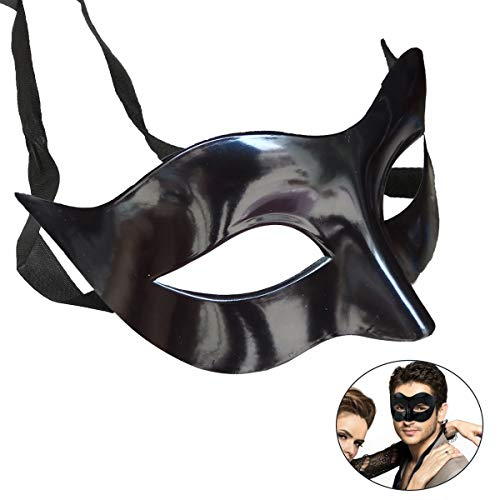 7Queen Mens Masquerade Mask Black Vintage Half Face Party Mask Mardi Gras Christmas Halloween Phantom of The Opera Mask for $<!--$8.99-->