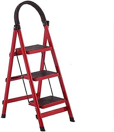 Lichtleiter Innen- und Au/ßen 6 Farben Color : Blue Convenient Fu/ß Hocker Farbe, Rot Gflyme Trittleiter 3-Stufenleiter Folding Haushaltsaluminiumtrittschemel Rot Leiter