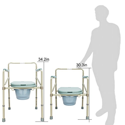 Mefeir Commode Toilet Chair Heavy Duty Steel 330LBS, FDA Medical Folding Supply with Safety Frame Rails Bedside, for Senior with Commode Bucket and Splash Guard 3 In1 Upgraded (330LBS) by Mefeir (Image #1)