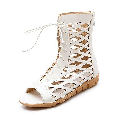 Sandalias Primavera Verano Otoño Zapatos Club PU Oficina & Carrera parte & Vestido de Noche talón plano Zipper Lace-up Brown