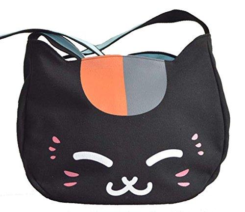 Bromeo Natsume Yuujinchou Cute Mr Cat Shoulder Messenger Bag - Black