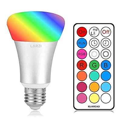 LARZI RGBW LED Light Bulbs, E26 10W Dimmable Color Changing Light Bulbs with Remote Controller, RGB+Daylight White with Memory Function and Wall Switch Control