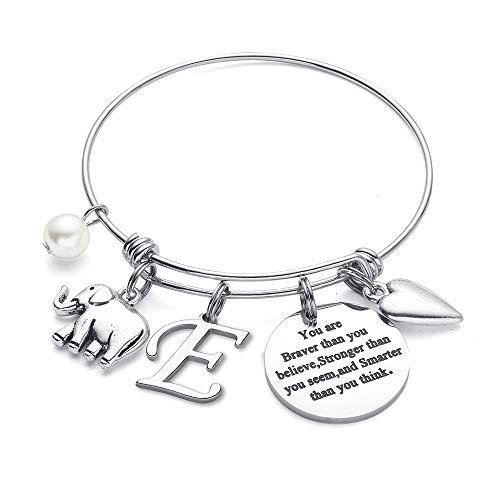 M MOOHAM Initial Bracelet for Women Gifts - Elephant Bracelet Inspirational Expandable Bangle Bracelet Elephant Jewelry for Women Teen Girls Friend BFF Bestie Birthday E Letter Bracelet