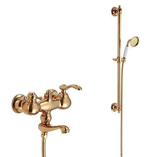 電気メッキレトロ蛇口ソリッド真鍮高級ゴールド壁掛け浴槽蛇口シャワーレール付き, ホワイト B07PHQ951N