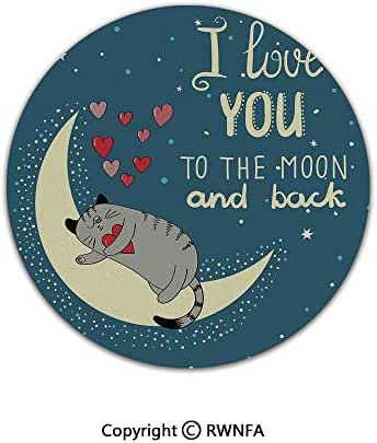 Quality Well Woven Barclay Round Area Rugs,Sleepy Cat Holding Hearts Over The Moon at Night Sky Kitty Caricature 2' Diameter Slate Blue Grey Ivory,for Kids Room Bedroom Kitchen