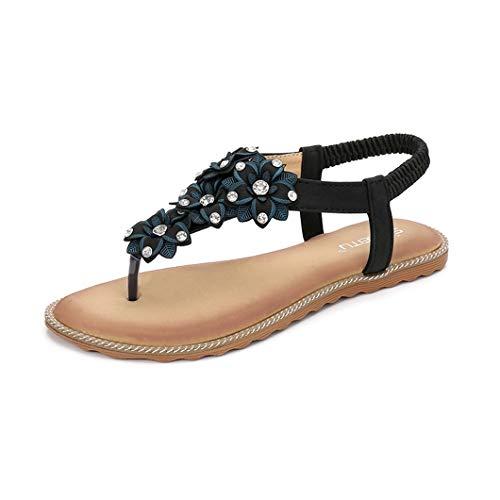 (VOWAN Women's Bohemian Thong Flat Sandal T-Strap Rhinestone Flower Summer Trend Open Toe Flip Flops Shoes Black)
