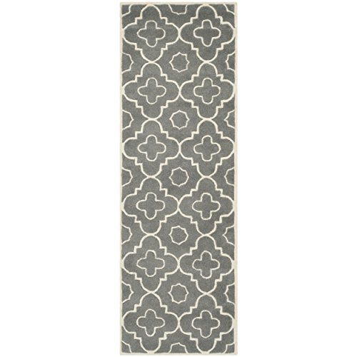 picture of Safavieh Chatham Collection CHT750D Handmade Dark Grey and Ivory Moroccan Wool Area Runner, 2-Feet 3-Inch by 13-Feet