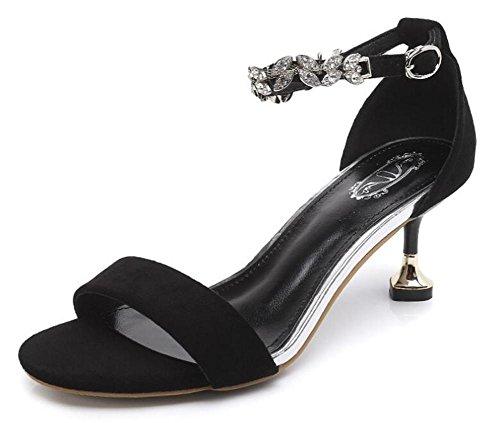 YEEY Sandalias de gamuza de verano Roma sandalias abiertas para mujeres tobillo hebilla hueco zapatos de tacón alto Black