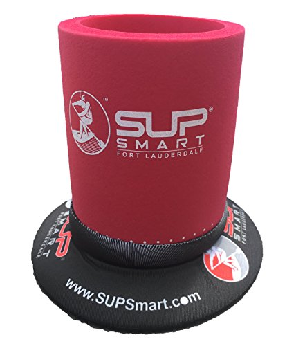 SUPSmart Red Insulated Beveridge Cooler includes a Patented Suction Mount: Holds drink on flat surfaces. Designed for Stand Up Paddle Boards and can be best used with 12oz Cans or Water Bottles