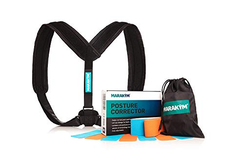 MARAKYM Adjustable Clavicle Posture Corrector for Women & Men - Under Clothes Back Brace Straightener for Spine, Neck, Upper & Lower Back Pain Relief - Shoulder Harness for Straight Back Support