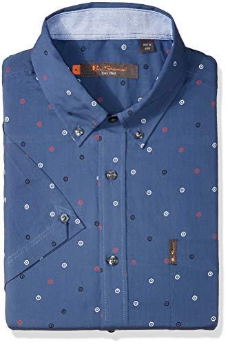Ben Sherman Men's SS SCTTRD TRGT PRNT Shirt, True Navy L