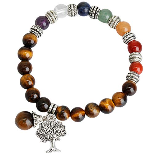 (TUMBEELLUWA Beads Bracelets Semi Precious Stone Yoga Beads Healing Crystals Chakra Bracelet Handmade Jewelry Women,Tiger's Eye(7 Chakra Tree)