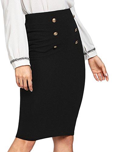 WDIRARA Women's High Waist Knee Length Double Button Bodycon Pencil Skirt Black M ()