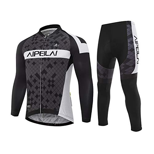 Men's Cycling Jersey Suit Full Sleeve Bicycle Jersey Clothing Set + 3D Padded Breathable Pant Sportswear (Asia L=US Medium)