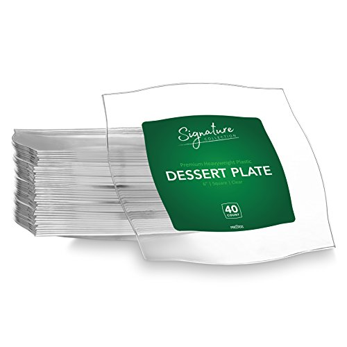 SIGNATURE PARTY DISPOSABLE CLEAR PLASTIC PLATES | 6 Inch Square Wedding Dessert Plates, 40 Ct | Elegant & Fancy Heavy Duty Hard Party Supplies Plates for all Holidays & Occasions by Prestee