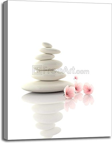 Spa Concept Zen Basalt Stones With Cherry Flowers Gallery Wrapped Canvas Art (40in. x 30in.)