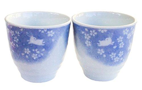 (Japanese Tea Cups Rabbit Blue White Snow Dances 5 oz)