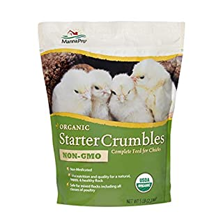 Manna Pro Organic Starter Crumble Complete Feed   Made with 19% Protein, USDA & Non-GMO   5 Pounds