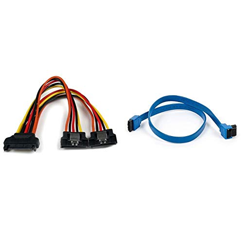 6in Latching SATA Power Y Splitter Cable Adapter - M/F - 6 inch Serial ATA Power Cable Splitter - SATA Power Y Cable Adapter & Monoprice 18-inch SATA III 6.0 Gbps Cable - Blue
