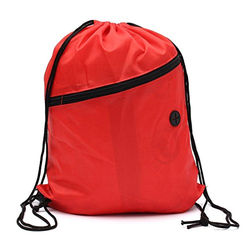 SODIAL(R) Book bag with cord Sports Gym Swimming PE dance shoe backpack Red